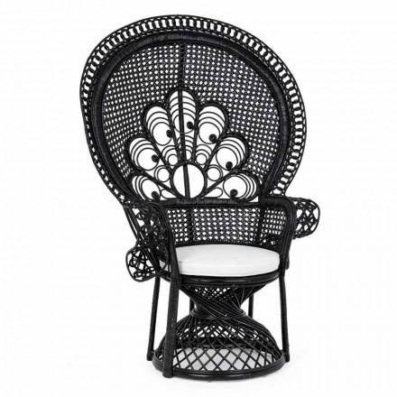 Poltrona da Giardino Design di Lusso per Esterni in Rattan Nero - Serafino