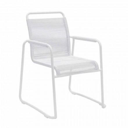 Poltrona da Giardino in Alluminio Bianco Design Moderno Impilabile - Wisky