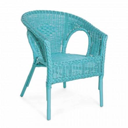 Poltrona da Giardino Design Impilabile in Rattan Bianco, Blu o Verde - Favolizia