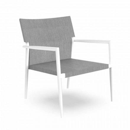 Poltrona da Giardino Moderna in Alluminio e Textilene Grigio – Adam by Talenti