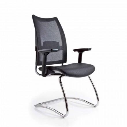 Poltrona da ufficio con braccioli e schienale in rete Overtime Luxy