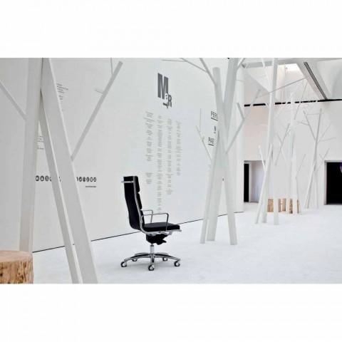 Poltrona da ufficio direzionale di design in pelle Light