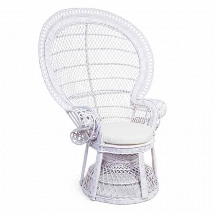 Poltrona da Giardino Design di Lusso in Rattan Bianco per Esterni - Serafina