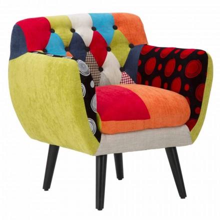 Poltrona Patchwork Colorata Design Moderno in Tessuto e Legno - Koria