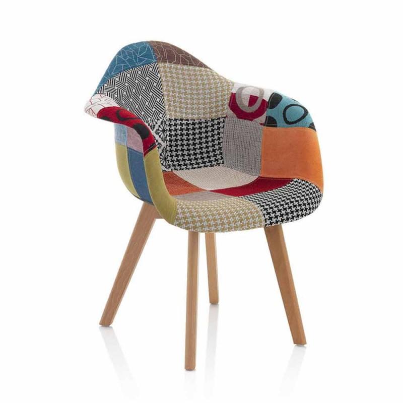 Poltrona Patchwork di Design in Tessuto con Gambe in Legno, 2 Pezzi - Selena