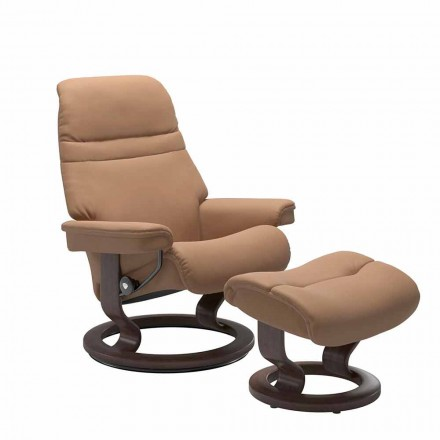 Poltrona Reclinabile in Pelle con Poggiatesta e Pouf – Stressless Sunrise
