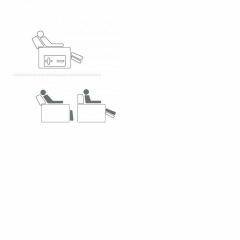 Poltrona relax 2 motori girevole pelle/tessuto/ecopelle moderna Bluma