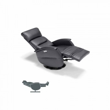 Poltrona relax motorizzata girevole in tessuto/pelle/ecopelle Gemma