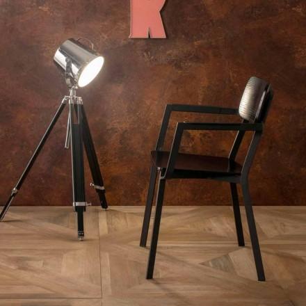 Poltroncina living dal design moderno in legno e metallo, Elmas