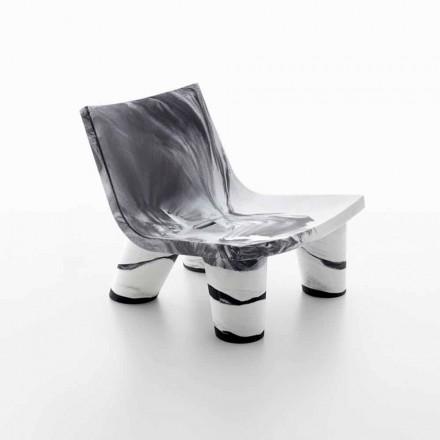 Poltroncina lounge da esterno bianca e nera Slide Low Lita Anniversary