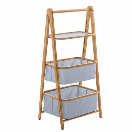 Porta accessori da bagno di design in tessuto e bamboo Vercelli
