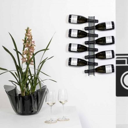 Porta bottiglie da muro fumé Baby small L6xH60xP11cm, design moderno