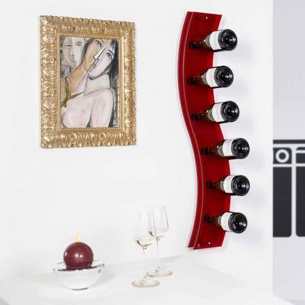 Porta bottiglie da parete di design L26,5xH100xP9cm Serry rosso