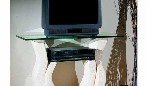 Porta tv in pietra di vicenza e cristallo scolpito a mano khloe