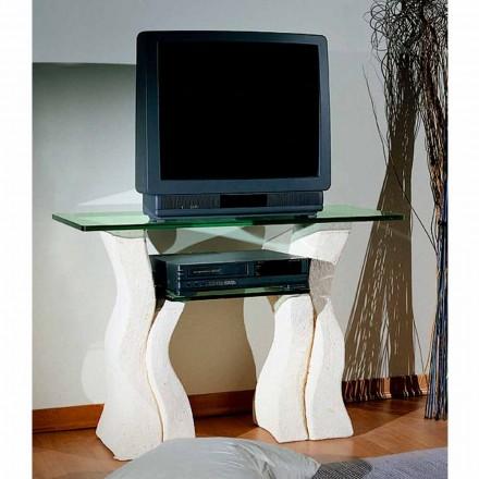 Mobili porta tv moderni legno pietra e vetro di design for Mobili sala angolari