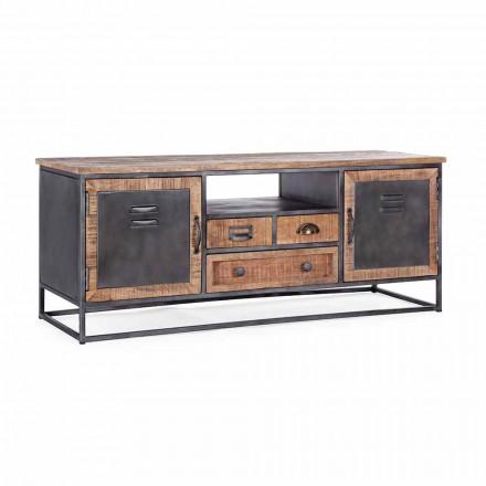 Porta Tv in Stile Industriale in Legno di Mango e Acciaio Homemotion - Rupia