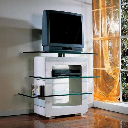 Porta TV modulare scolpito a mano Pietra di Vicenza e cristallo Agnes