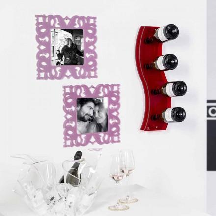 Portabottiglie da muro rosso Serry Small L26,5xH60xP9cm,design moderno