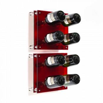 Portabottiglie da parete moderno rosso Amin Small L30xH30xP13,6cm