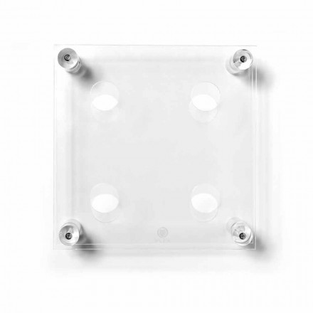 Portabottiglie da parete moderno trasparente Amin Small 30xH30xP13,6cm