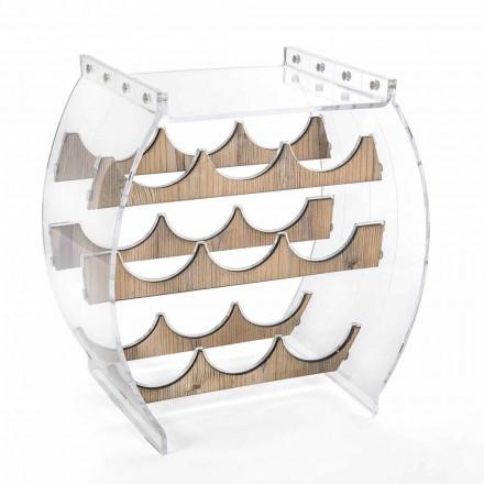 Portabottiglie da Terra in Plexiglass Trasparente e Legno Design 9 Posti - Stria