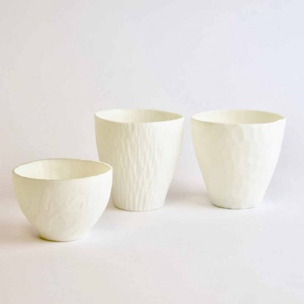 Portacandele di Design in Porcellana Bianca Decorata 3 Pezzi - Arcireale
