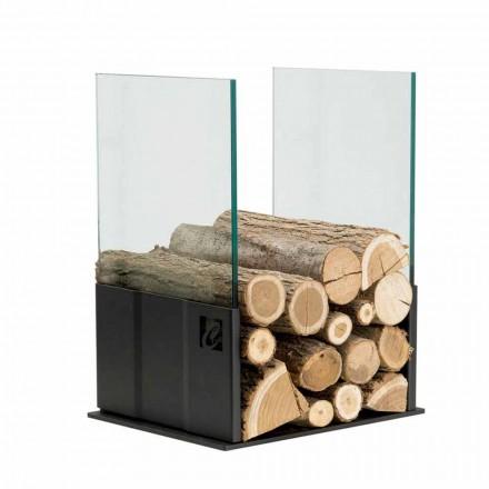 Portalegna moderno in vetro e acciaio da interno PVP, made in Italy