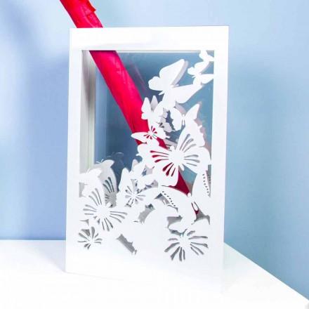 Portaombrelli Bianco in Legno dal Design Moderno Decorato con Farfalle - Papilio