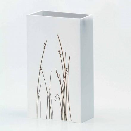 Portaombrelli Bianco in Legno Decorato Design Moderno Rettangolare - Filigrano