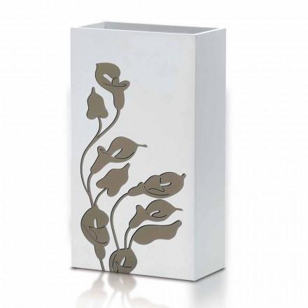 Portaombrelli in Legno Bianco Design Moderno con Decori Floreali - Caracalla