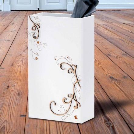 Portaombrelli Moderno Elegante in Legno Scuro o Bianco con Decori - Poesia