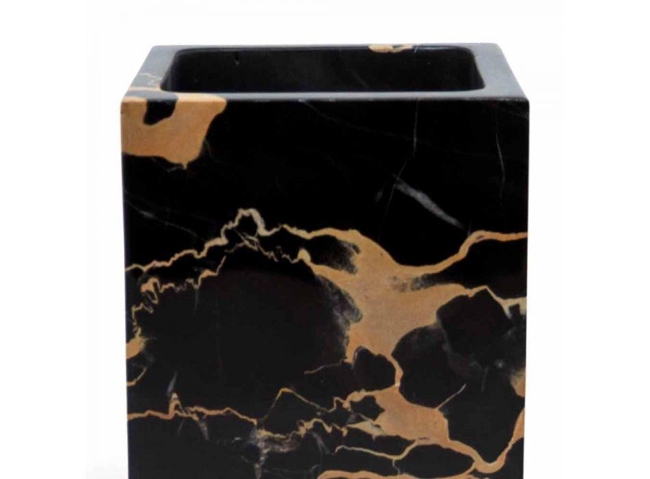 Portaspazzolino in Marmo Portoro Design Quadrato Made in Italy - Maelissa