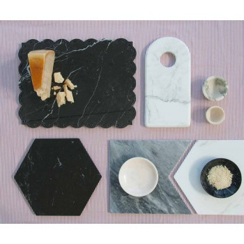 Portauovo di Design in Marmo Bianco di Carrara Made in Italy, 2 Pezzi - Picca