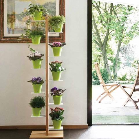 Portavasi verticale moderno a colonna Zia Flora in legno made in Italy