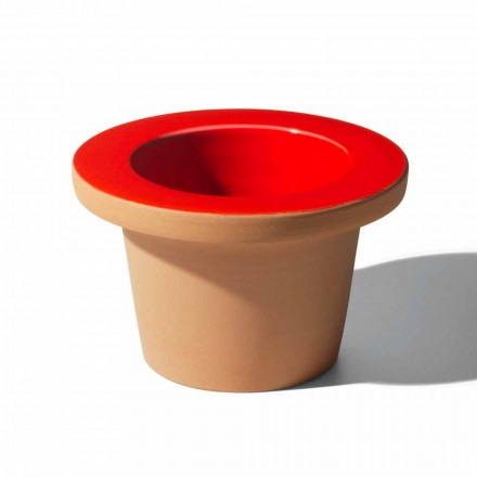 Portavaso Portaoggetti in Terracotta e Ceramica Smaltata Made in Italy - Phoebe