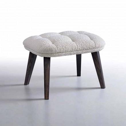 Pouf di Design Rivestito in Tessuto con Base in Legno Made in Italy - Clera