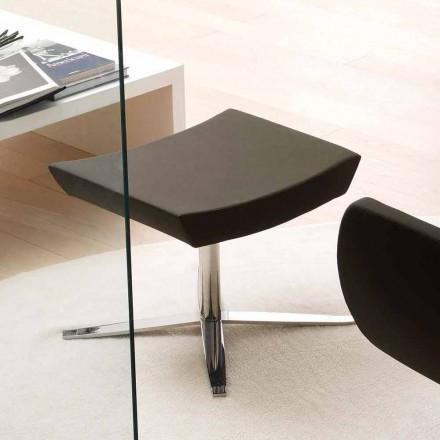 Pouf Moderno in Ecopelle e Alluminio, da Ufficio - Clio
