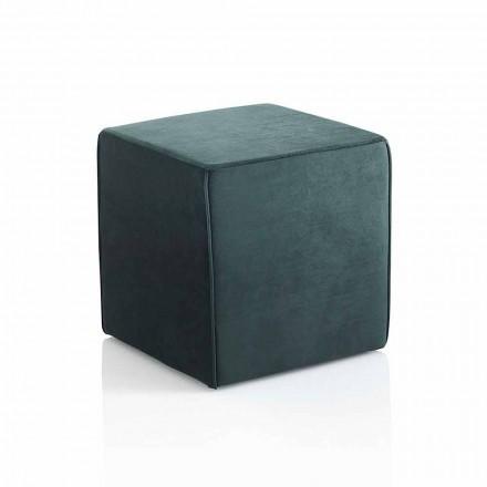 Pouf Moderno Quadrato Imbottito e Rivestito in Velluto Verde - Fuffi