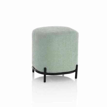 Pouf Rotondo da Salotto in Tessuto Verde o Grigio Design Moderno - Ambrogia