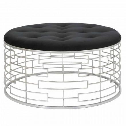 Pouf Rotondo Morbido di Design Moderno in Velluto, Ferro e MDF - Saxon
