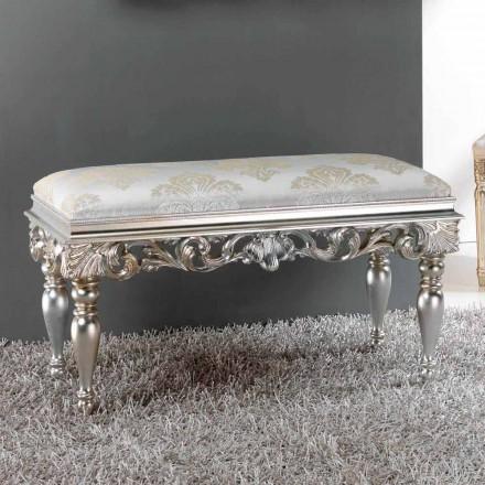Pouf scendiletto dal design classico con finitura argento Zorn