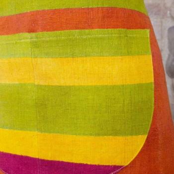 Pregiato Grembiule Artigianale in Canapa Dipinto a Mano Made in Italy - Marchi
