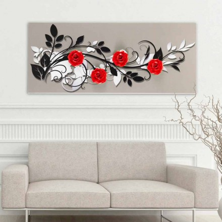 Quadro floreale di design Le Quattro Rose by Viadurini Decor