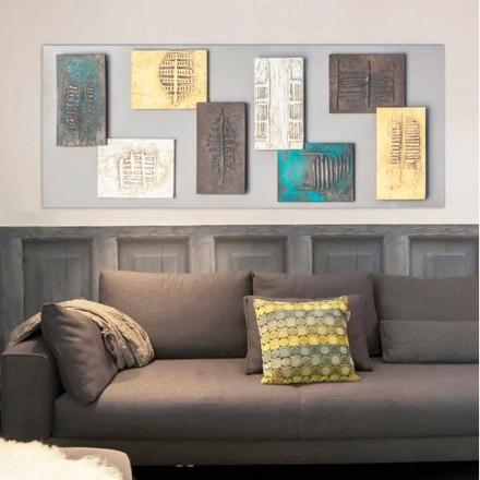 Quadro moderno con tela tortora e otto elementi materici Andrew