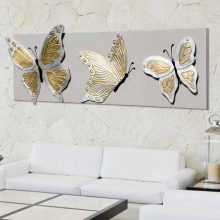 Quadro moderno con tre farfalle in rilievo decorate a mano Stephen
