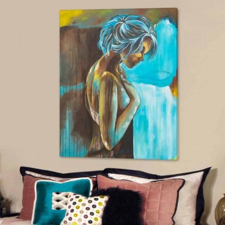 Quadro moderno donna decorata a mano con dettagli in resina Sweet
