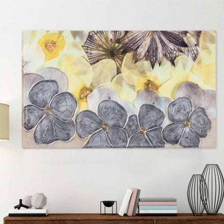Quadro moderno floreale con petali materici decorati a mano Ramos
