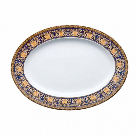 Rosenthal Versace Medusa Blue Piatto ovale di design in porcellana