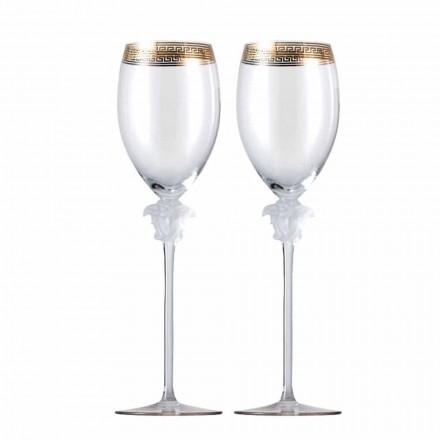 Rosenthal Versace Medusa D'Or 4 calici vino bianco in cristallo