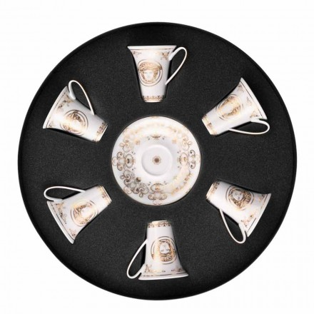 Rosenthal Versace Medusa Gala Gold set tazze espresso 6pz porcellana